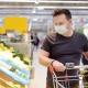masked grocery shopper